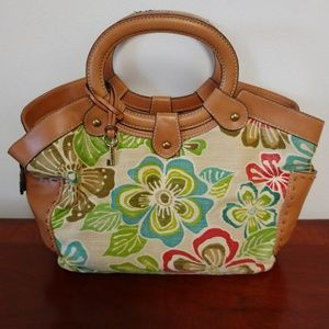 Fossil canvas and leather bag
